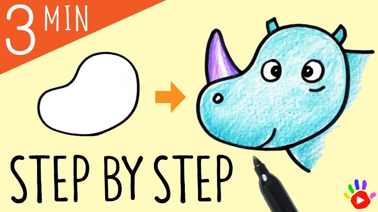 1280x720 how to draw baby rhino drawing rhino's face easy slow