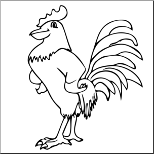 304x304 Clip Art Cartoon Rooster Bampw I Abcteach