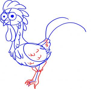 302x298 How To Draw A Cartoon Rooster, Step