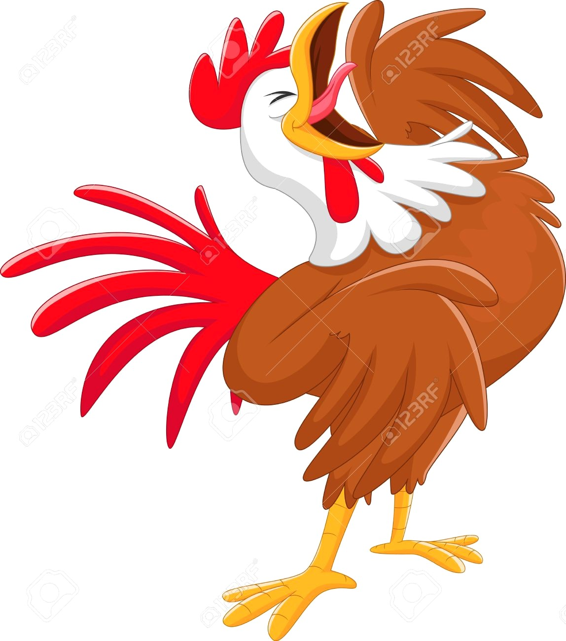1148x1300 Cartoon Brown Rooster Crowing Naif Childish Drawing Style Chicken