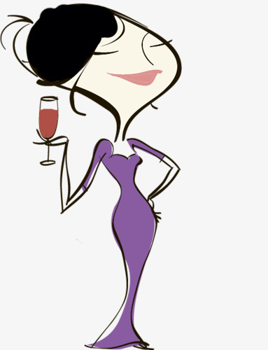383x500 Cartoon Drawing Of A Lady Drinking Red Win