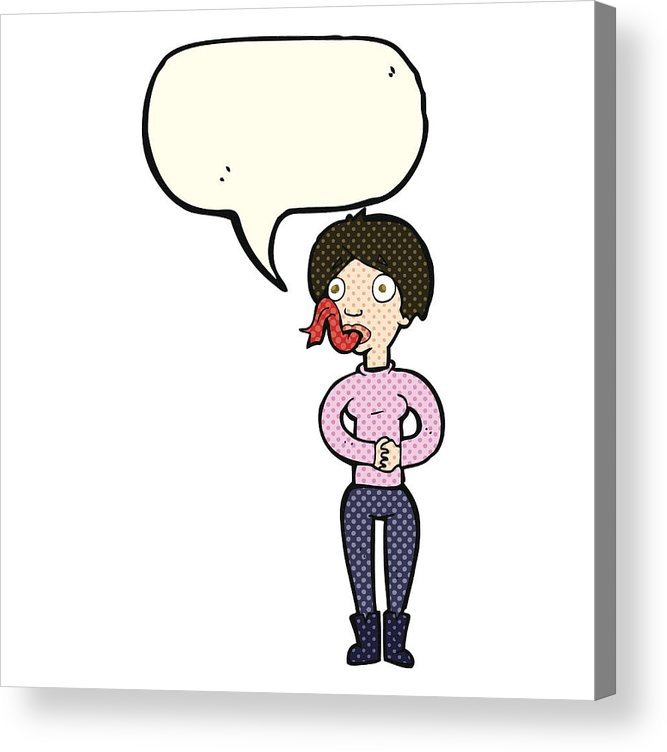 667x752 Cartoon Woman With Snake Tongue With Speech Bubble Acrylic Print