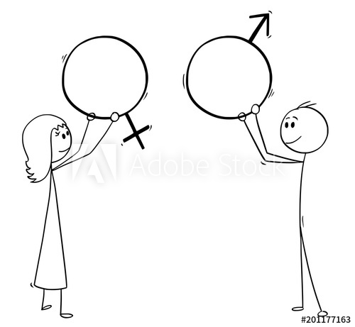 500x461 Cartoon Stick Man Drawing Conceptual Illustration Of Man And Woman