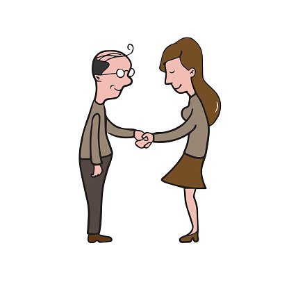 416x416 Man And Woman Handshake Cartoon Drawing Premium Clipart