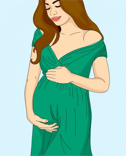 484x600 Pregnant Woman Drawing Colored Cartoon Design Free Vector In Adobe
