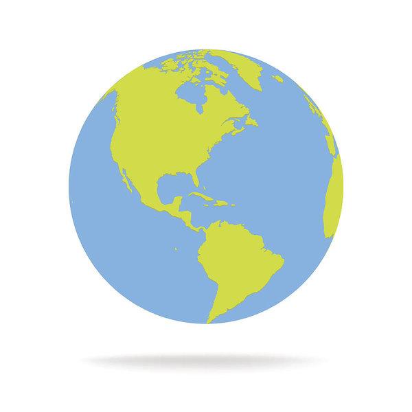 600x600 Green And Blue Cartoon World Map Globe Vector Illustration Art