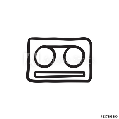 500x500 Cassette Tape Sketch Icon