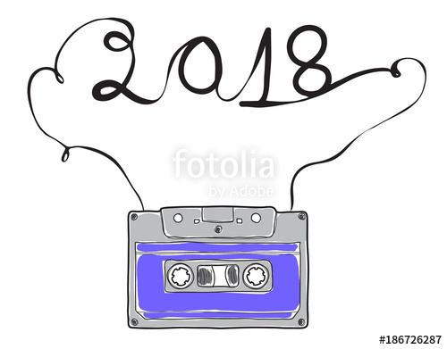 500x391 Happy New Year, Purple Compact Cassette, Musicassette Hand