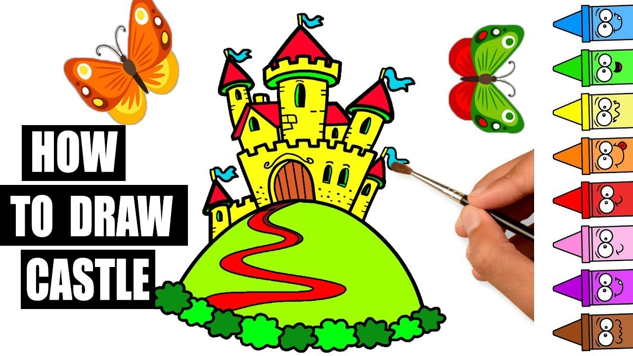 1280x720 How To Draw Castle Drawing And Color For Kids