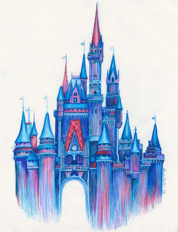 1152x1500 Magic In The Airdisney Castle Art Printcolorful Disney Etsy