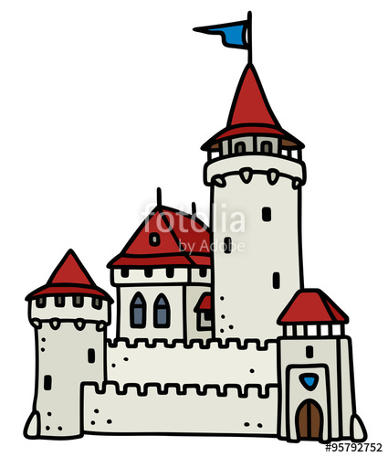 425x500 Old Stone Castle Hand Drawing, Not A Real Buiding Stock Image