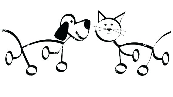 570x320 Dogs And Cats Drawing At Free For Personal Use Coloring Pages Home