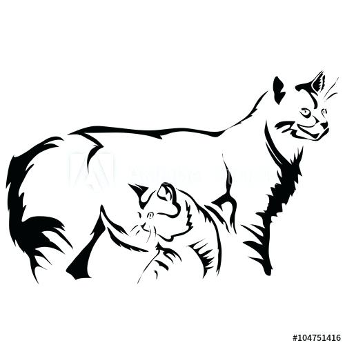 500x500 Outline Of A Cat Dog Cat Outline Drawing