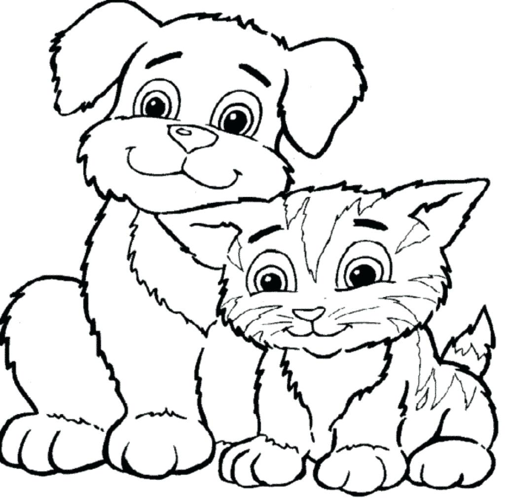 1024x1013 Cat And Dog Coloring Pages