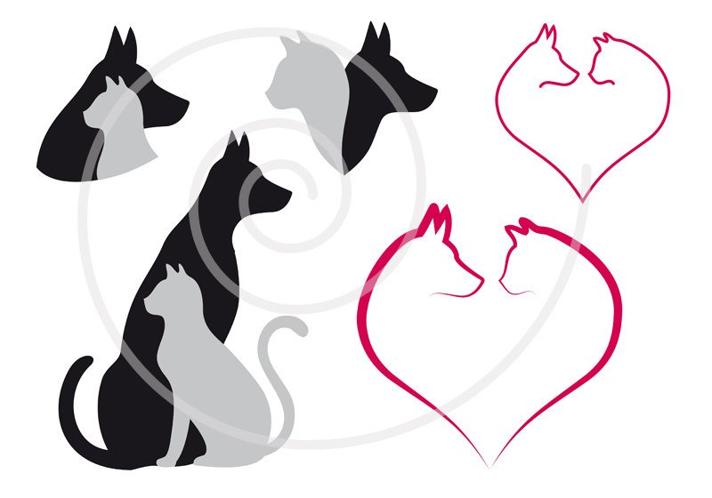 800x560 Cat And Dog Digital Clip Art Set Pet Animal Clipart Heart Etsy