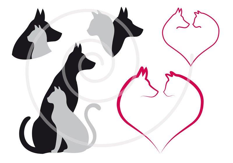 800x560 Cat And Dog Digital Clip Art Set Pet Animal Clipart Heart Etsy
