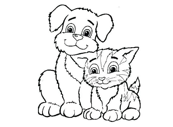 678x500 Cat And Dog Pictures To Color Cats And Dogs Drawing