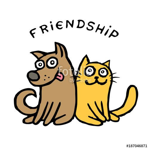 500x500 Clipart Of A Cat And Dog