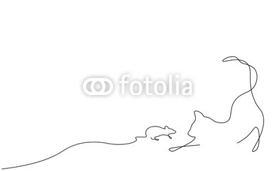 400x250 Cat And Mouse One Line Drawing Vector Illustration Buy Photos