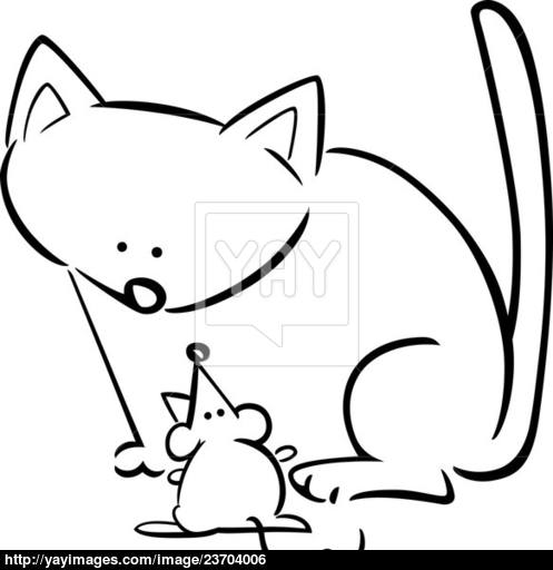 497x512 Cartoon Doodle Of Cat And Mouse For Coloring Image