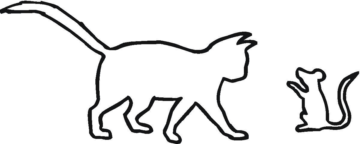 1200x482 Cat And A Mouse Outline
