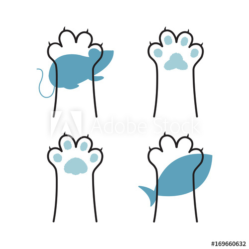500x500 Cat Paw Line Drawing, Cat And Mouse Vector, Cat And Fish