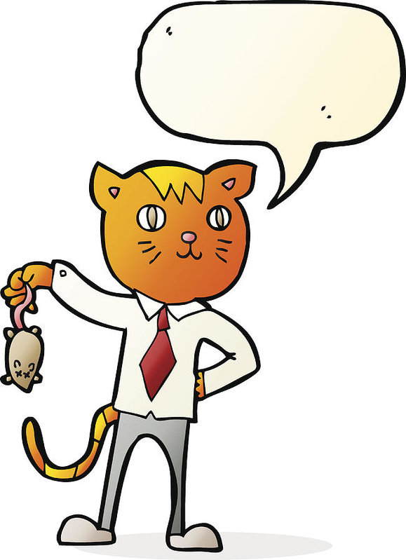 579x799 Cartoon Business Cat With Dead Mouse With Speech Bubble Art Print