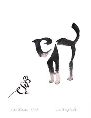 309x397 Cat And Mouse Margaret Shepherd Calligraphy Drawing, Art, Cat