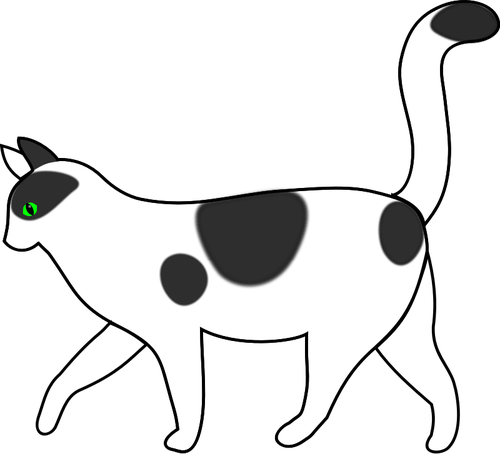 500x454 White Cat Walking Vector Drawing