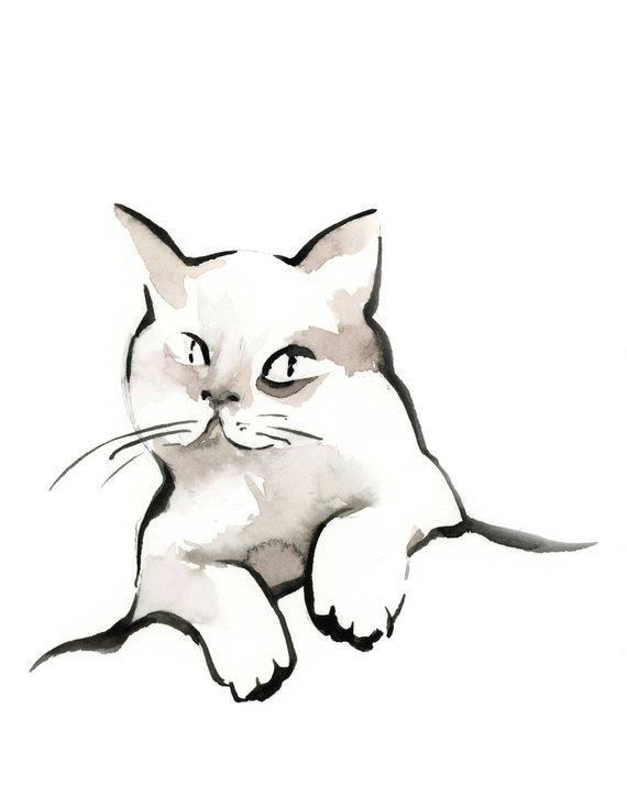 570x725 Cat Art Print, Cat Ink Drawing Art, Minimalist Cat Fine Art Print