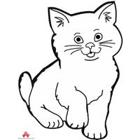 200x200 Download Contour Drawing Of Little Kitten Cat Design Clipart Png