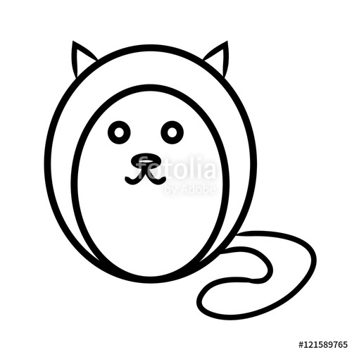 500x500 Round Cat Contour Stock Image And Royalty Free Vector