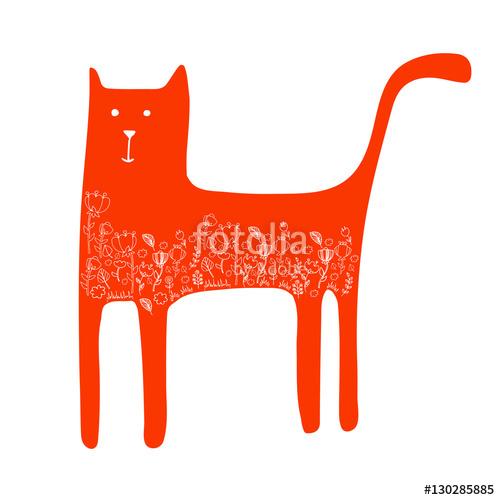 500x500 Cat Animal Contour Drawing Creative Kitten Pet Stock Image