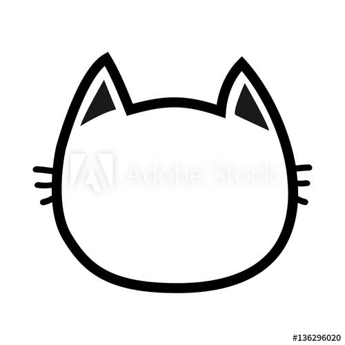 500x500 Black Cat Head Face Contour Silhouette Icon Line Pictogram Cute