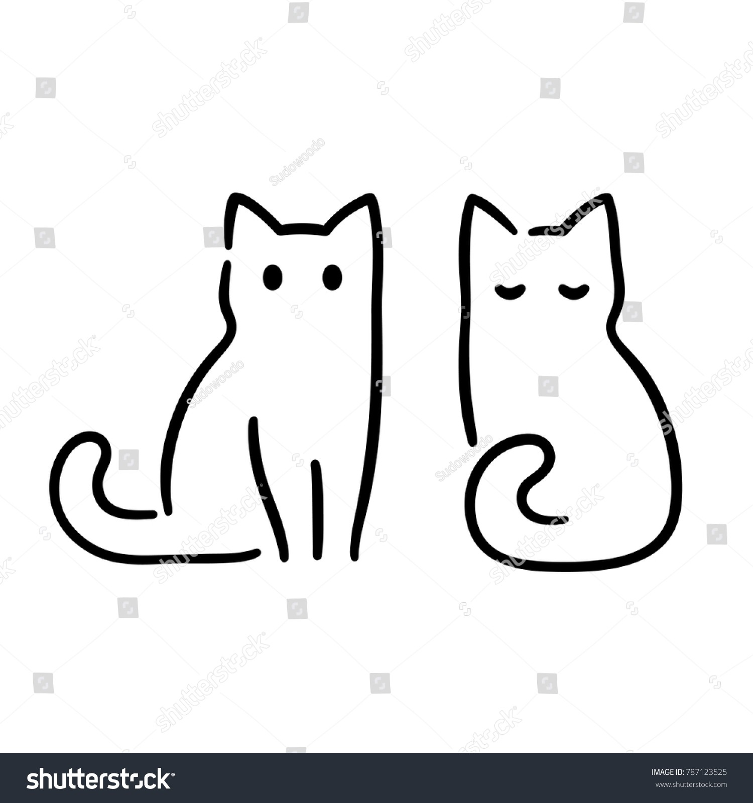 1500x1600 Simple Cat Drawing New Simple Minimal Cat Ink Drawing Two Stock