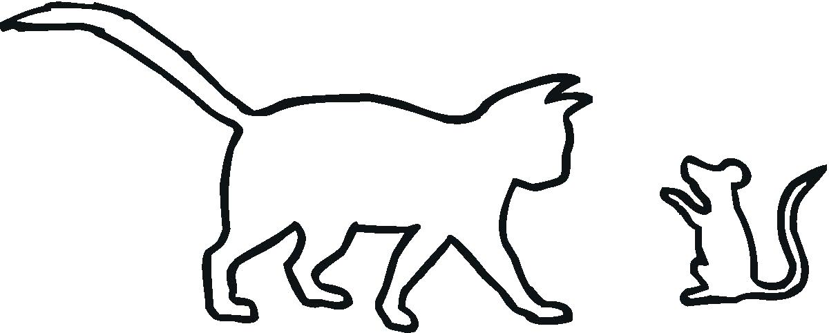 1200x482 Cat Drawing Outline Cat And A Mouse Outline Coloring Online Super