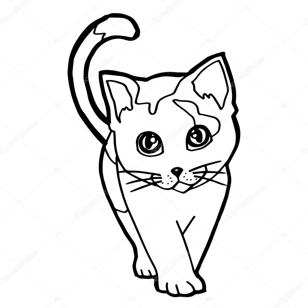 1024x1024 Cheerful Cat Coloring Pages Free