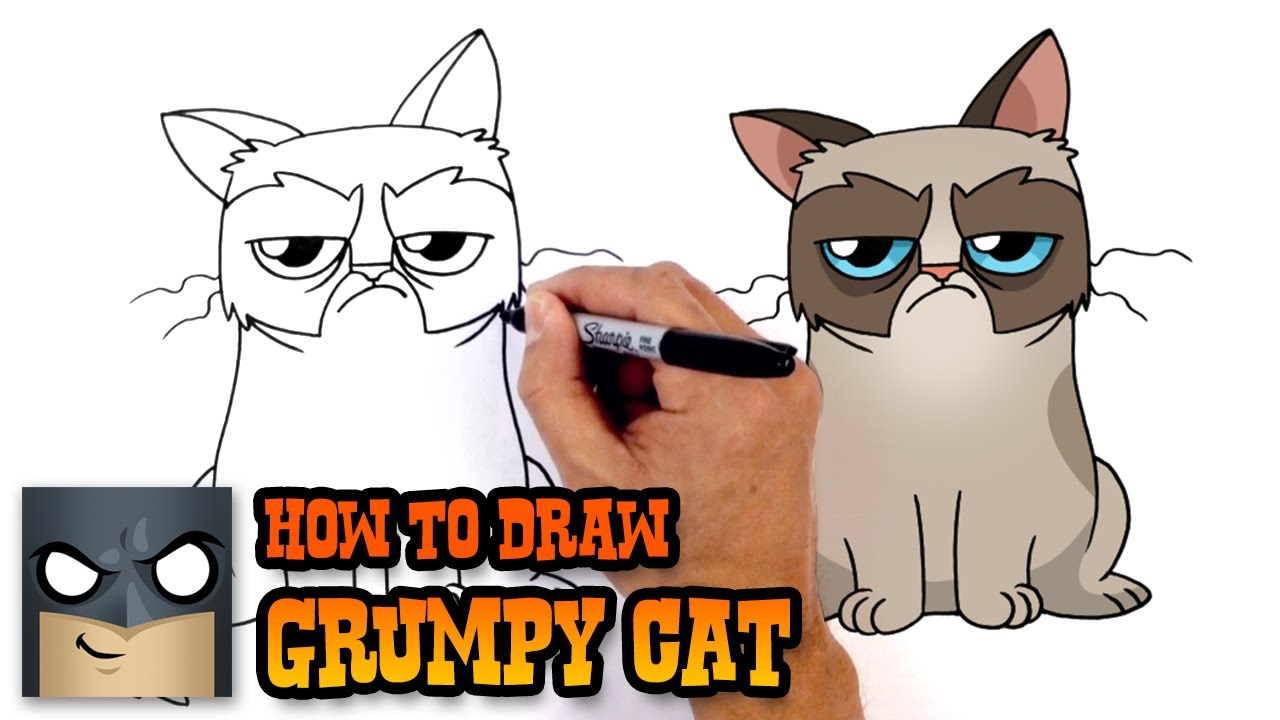 1280x720 Excelent How To Draw Grumpy Cat Drawing Lesson Youtube Ideas
