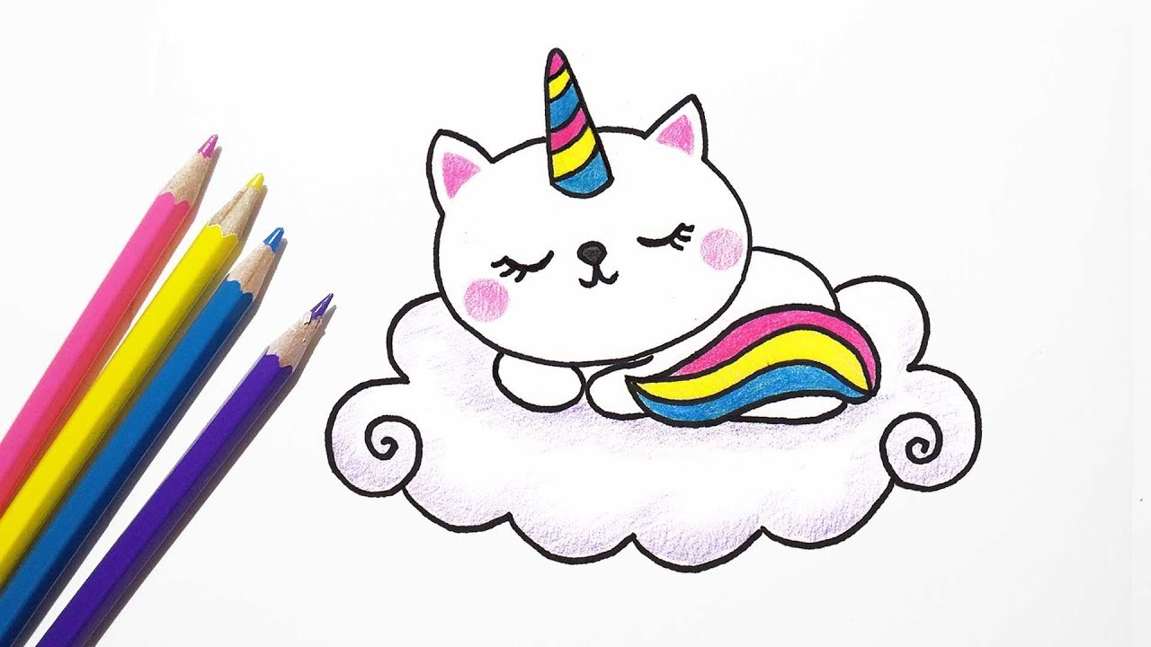 1280x720 Great How To Draw Cute Cat Unicorn Easy Drawing Catcorn