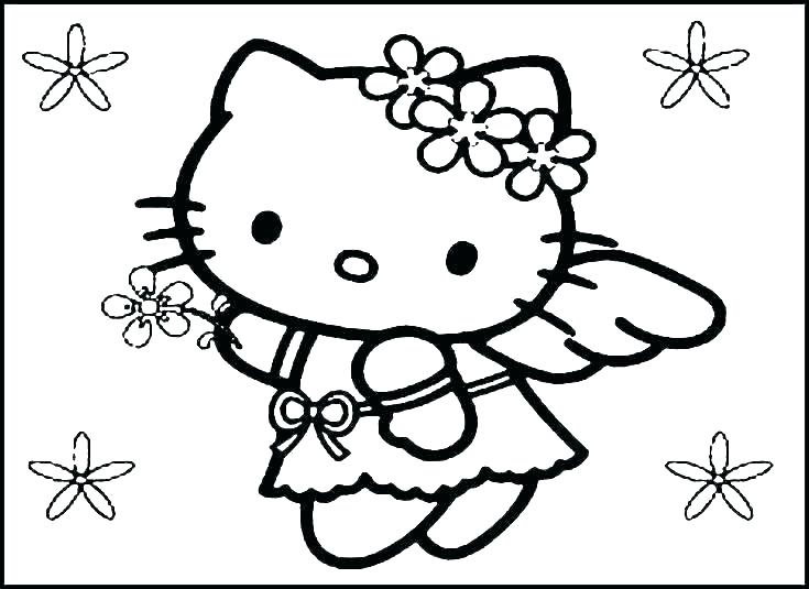 735x535 Cat Coloring Pages Online Hello Kitty Printable