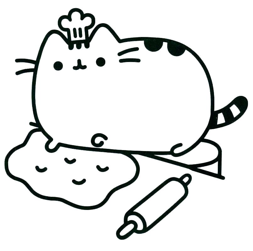 805x801 Fat Cat Drawing At Free For Personal Use Coloring Pages Cute Sheet