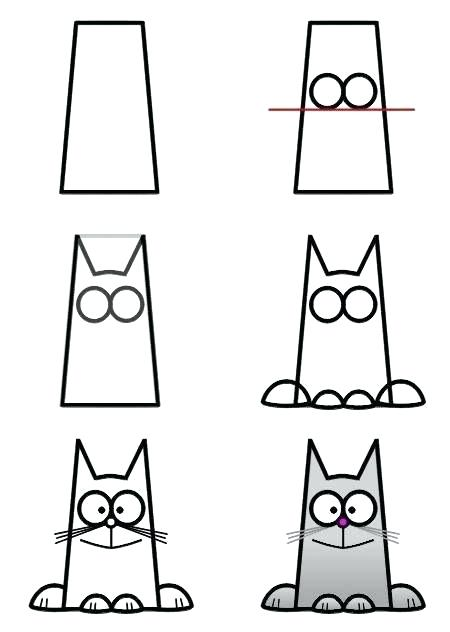 450x632 How To Draw A Cartoon Cat Easy Step