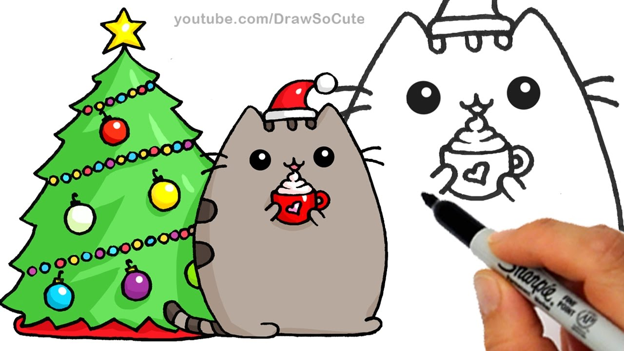 1280x720 How To Draw Christmas Holiday Pusheen Cat Step