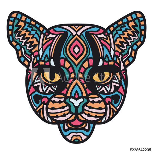 500x500 Illustration Of Head Of Wild Cat On White Background Hand Drawn