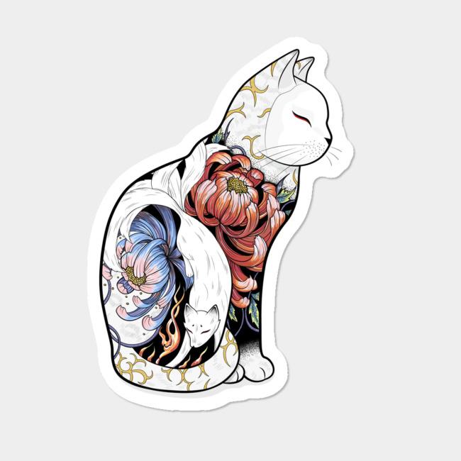 650x650 Kitsune Cat Tattoo Sticker