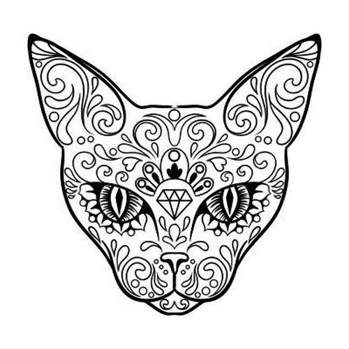 500x500 Patterned Cat Head With Diamond Sign Tattoo Design