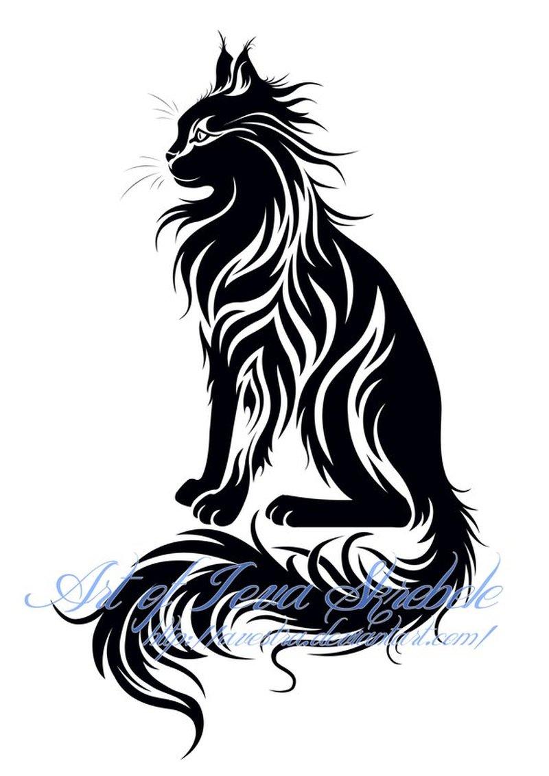 800x1132 Sitting Tribal Cat Tattoo Design