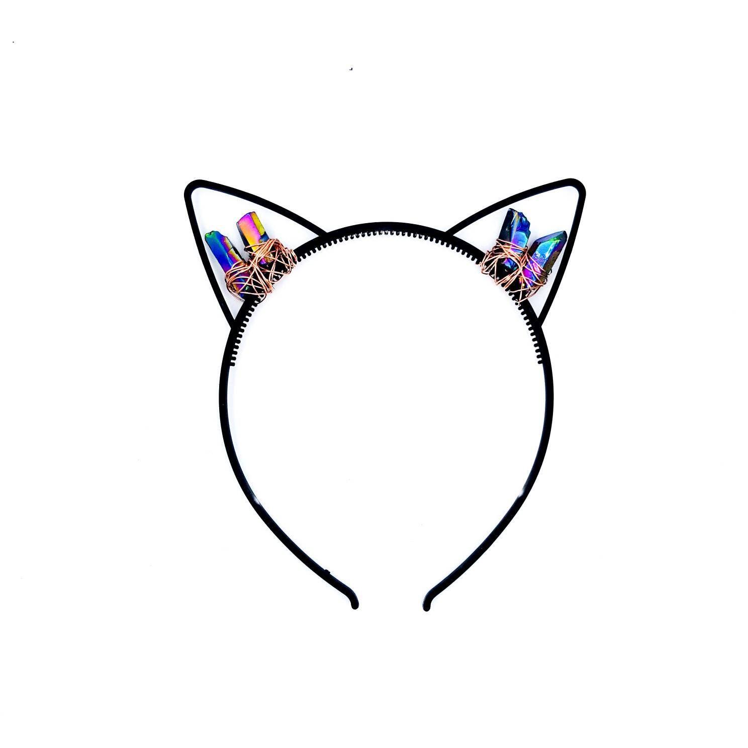 1488x1488 cat ears kitten play ears headpiece headband, crystal cat ears