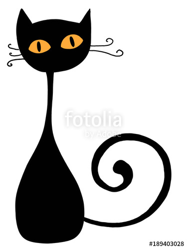 375x500 Black Cat And Yellow Eyes Silhouette Illustration Drawing Stock