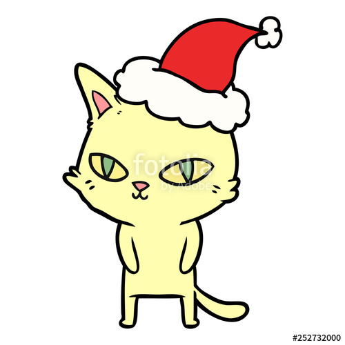 500x500 Line Drawing Of A Cat With Bright Eyes Wearing Santa Hat Stock
